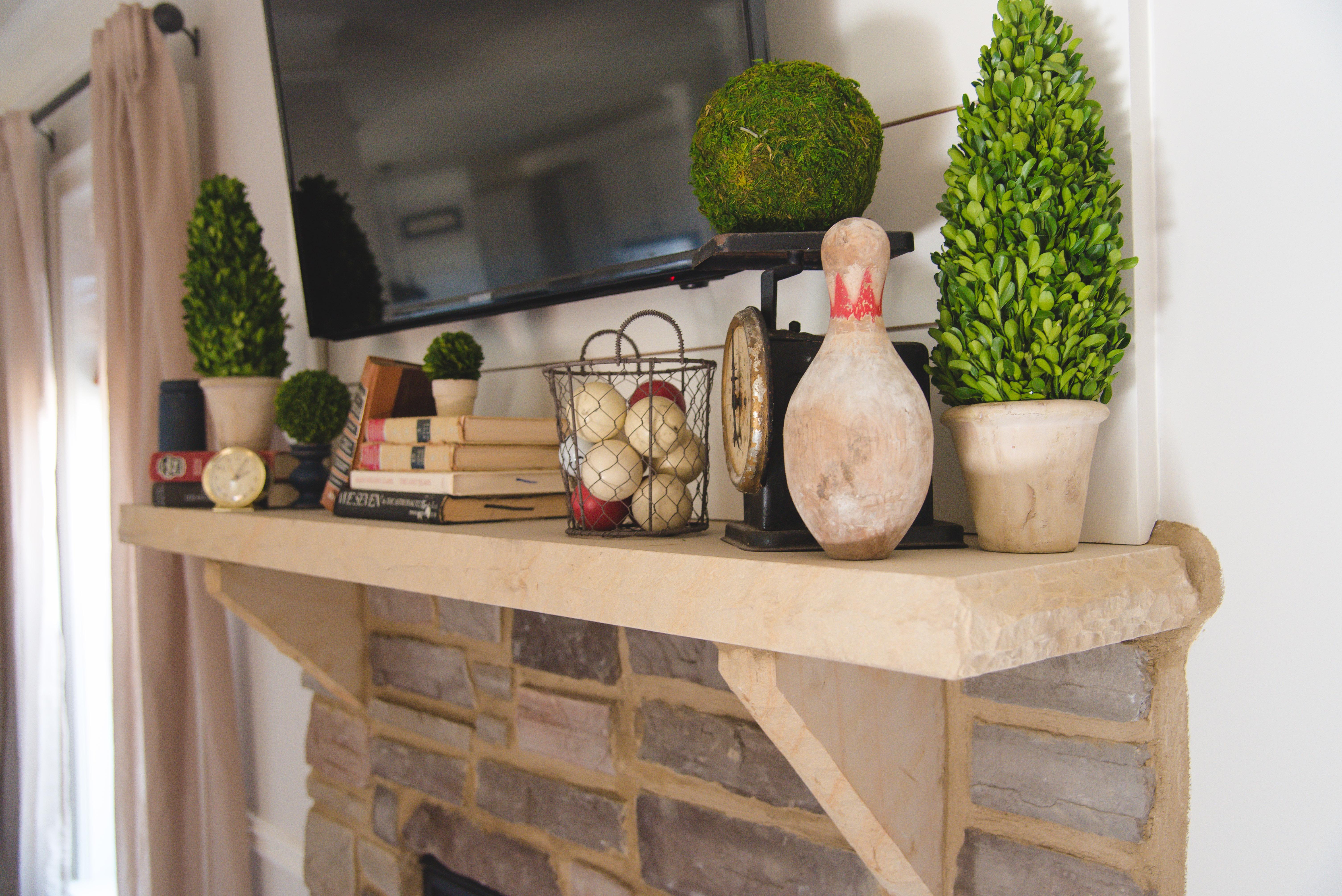 farmhouse decor mantle